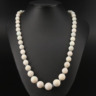 Art Deco Graduated Opal and Rock Crystal Quartz Bead Necklace