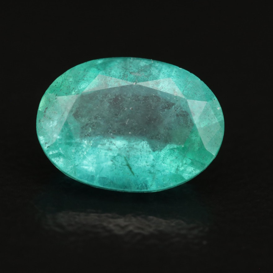 Loose 1.95 CT Oval Faceted Emerald