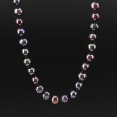 Knotted Semi-Baroque Pearl Strand Necklace with 14K Clasp
