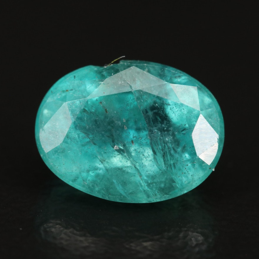 Loose 3.25 CT Oval Faceted Emerald