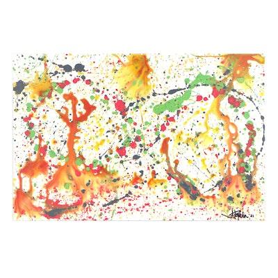 "J. Popolin Acrylic Painting ""Groovy Baby"""
