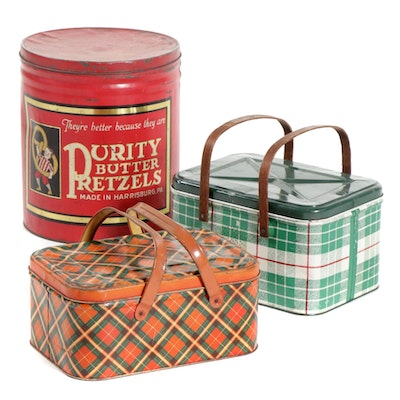 Purity Butter Pretzels and Picnic Basket Tins, Mid-20th Century