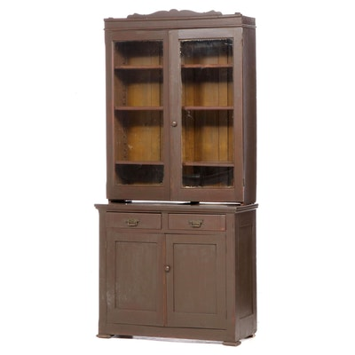 American Primitive Brown-Painted Stepback Cupboard, Late 19th Century