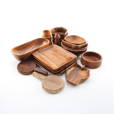 Boltalite, Teak, Palm & Acacia Wood Carved Bowls, Platters, with Dansk Spreaders