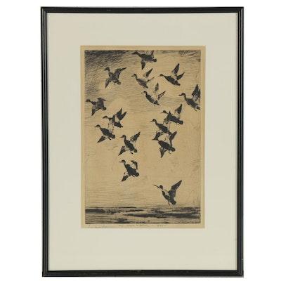 """Frank Weston Benson Etching """"Black Ducks Towering,"""" 1947"""