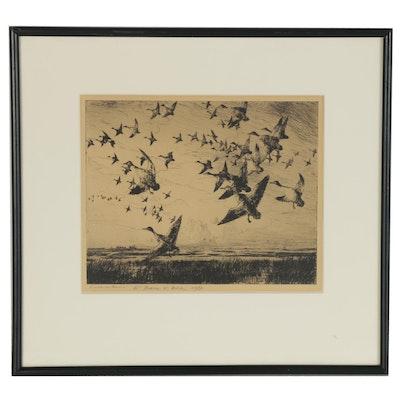 "Frank Weston Benson Etching ""Morning Flight,"" 1950"