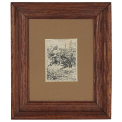 """Lithograph after John Sloan """"In Vain Did Dupont Shout 'Stop! Stop!'"""""""