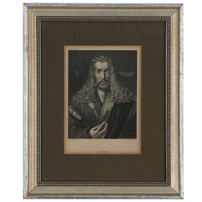 """Engraving after Albrecht Dürer """"Self-Portrait at Twenty-Eight"""""""