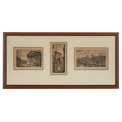 Aimé Edmond Dallemagne Etchings of Paris Landscapes, Early 20th Century