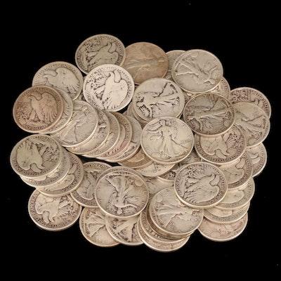 Fifty Walking Liberty Silver Half Dollars