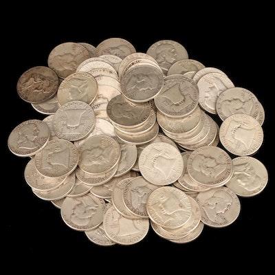 Ninety Franklin Silver Half Dollars