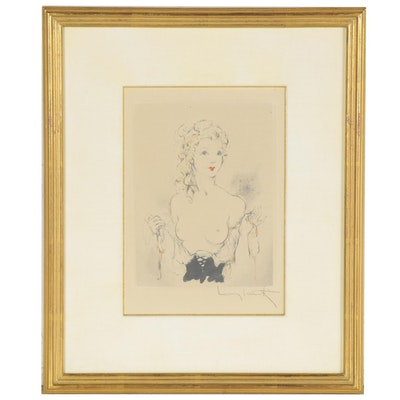"""Rotogravure after Louis Icart """"No Strings,"""" Late 20th Century"""
