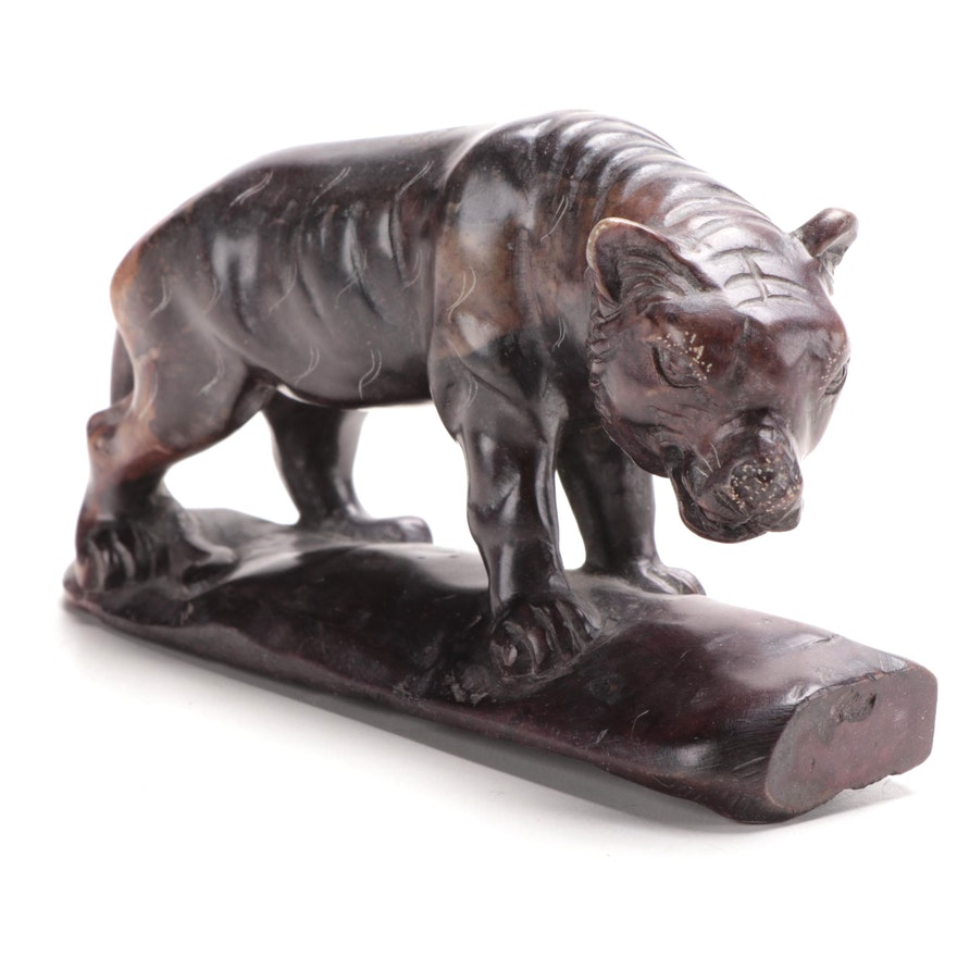 Chinese Style Carved Soapstone Tiger Figurine