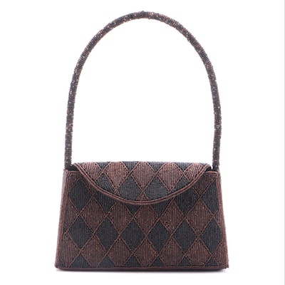 Lynne Jerome Top Handle Bag in Beaded Black and Brown Harlequin Pattern