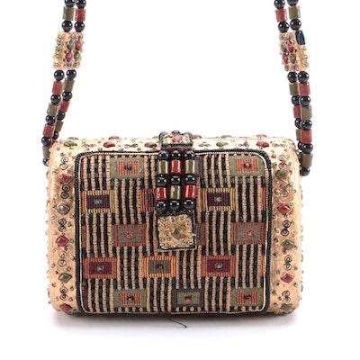 Mary Frances Shoulder Bag in Gold with Beaded and Embellished Details