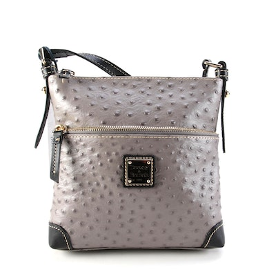 Dooney & Bourke Grey Ostrich Embossed and Black Leather Crossbody Bag