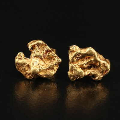 22K Natural Gold Nugget Stud Earrings with 14K Findings