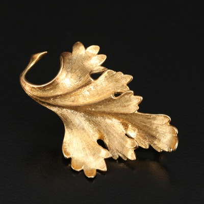 Vintage 18K Leaf Brooch with Florentine Finish