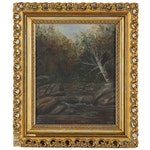 Landscape Oil Painting of Autumnal Forest with Creek, Early 20th Century