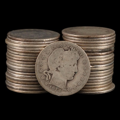 Forty Barber Silver Quarters