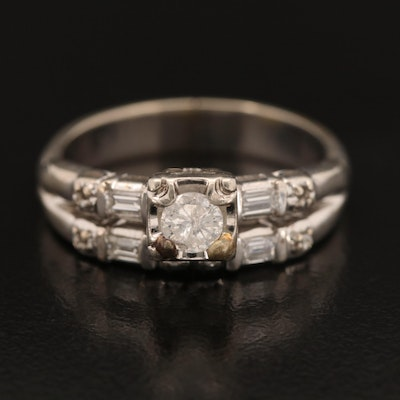 14K Diamond Semi-Mount Ring with Arthritic Shank and Cubic Zirconia Center