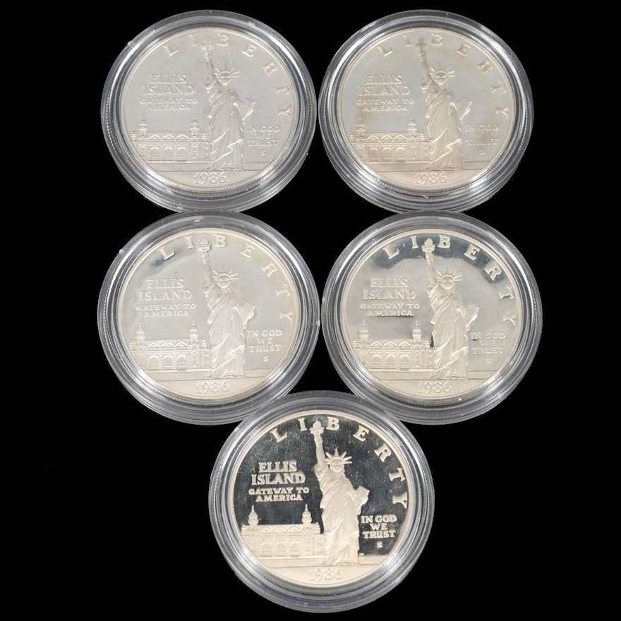 Five 1986-S Statue of Liberty Proof Commemorative Silver Dollars