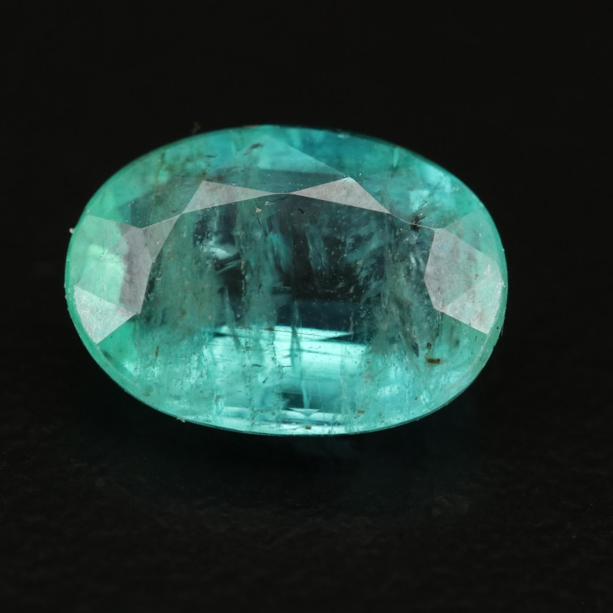 Loose 2.32 CT Oval Faceted Emerald