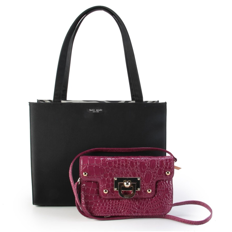Kate Spade Black Nylon Tote and DKNY Magenta Embossed Patent Leather Crossbody