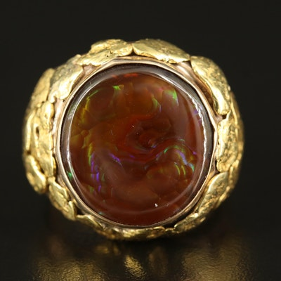 14K Fire Agate Textured Ring