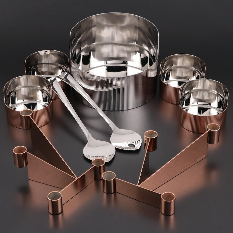 """Georg Jensen """"Urkiola"""" Candle Holders and Serving Bowls with """"Duo"""" Salad Servers"""