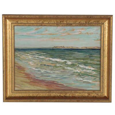Coastal Seascape Oil Painting of Crashing Waves, Late 20th Century
