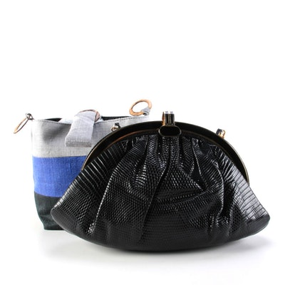 Siso Lizard Skin Crossbody Bag with Unlabeled Striped Textile Bucket Bag