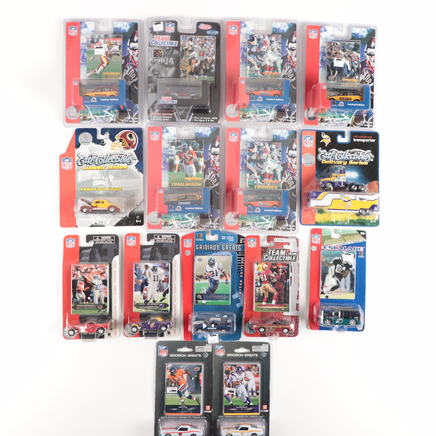 """Ertl NFL """"Classic Rides"""" and """"Gridiron Greats"""" Cars and Fleer Cards"""