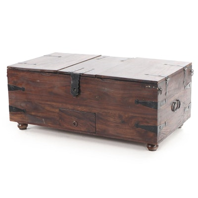 Iron-Mounted Walnut Trunk Style Lift-Lid Coffee Table