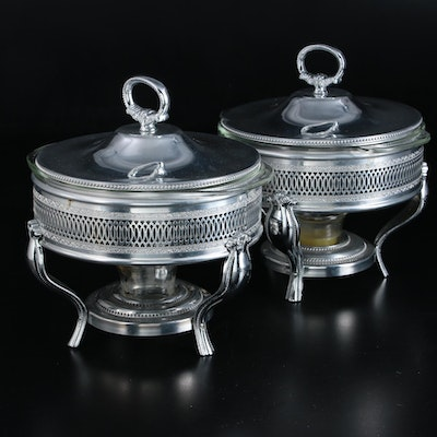 Reticulated Metal Chafing Dishes with Pyrex and Fire King Glass Inserts