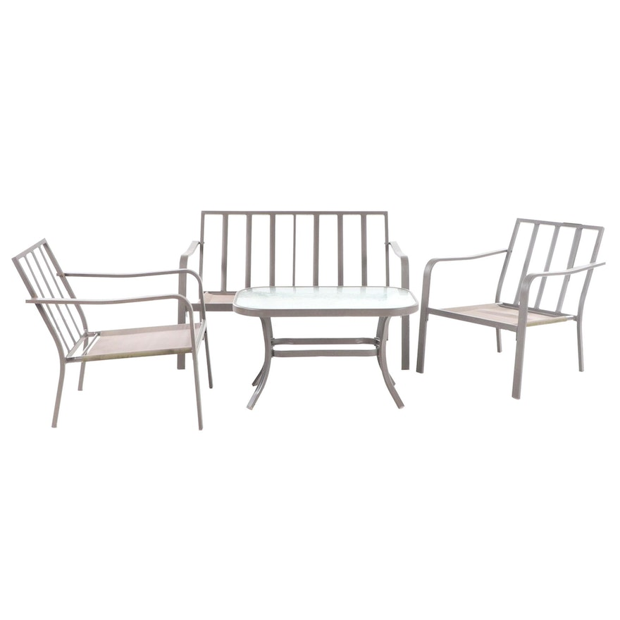 Contemporary Aluminum Patio Settee, Two Armchairs, and Glass Top Side Table