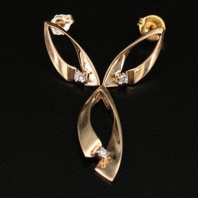 10K Diamond Earrings and Pendant Set