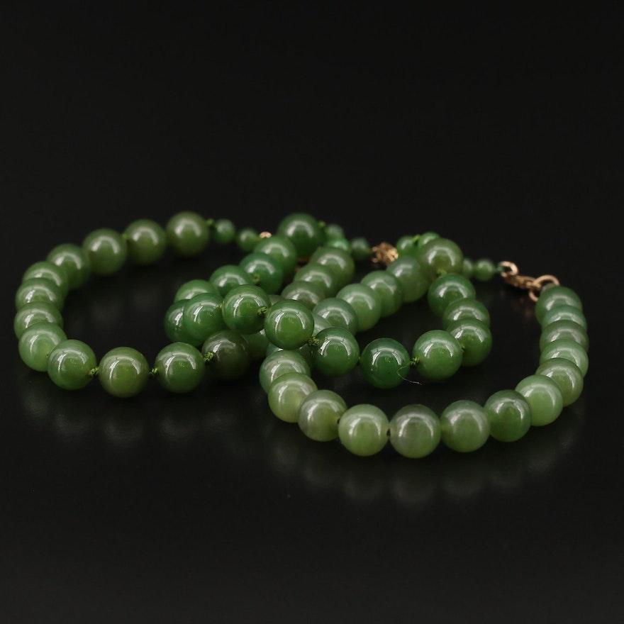 Nephrite Beaded Bracelets with 14K Clasps