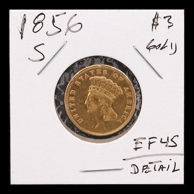1856-S Indian Princess Head $3 Gold Coin
