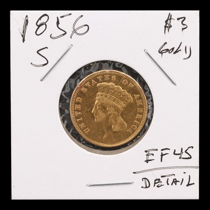 1856-S Indian Princess Head $3 Gold Coin