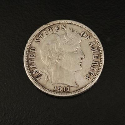 1911-D Barber Silver Dime