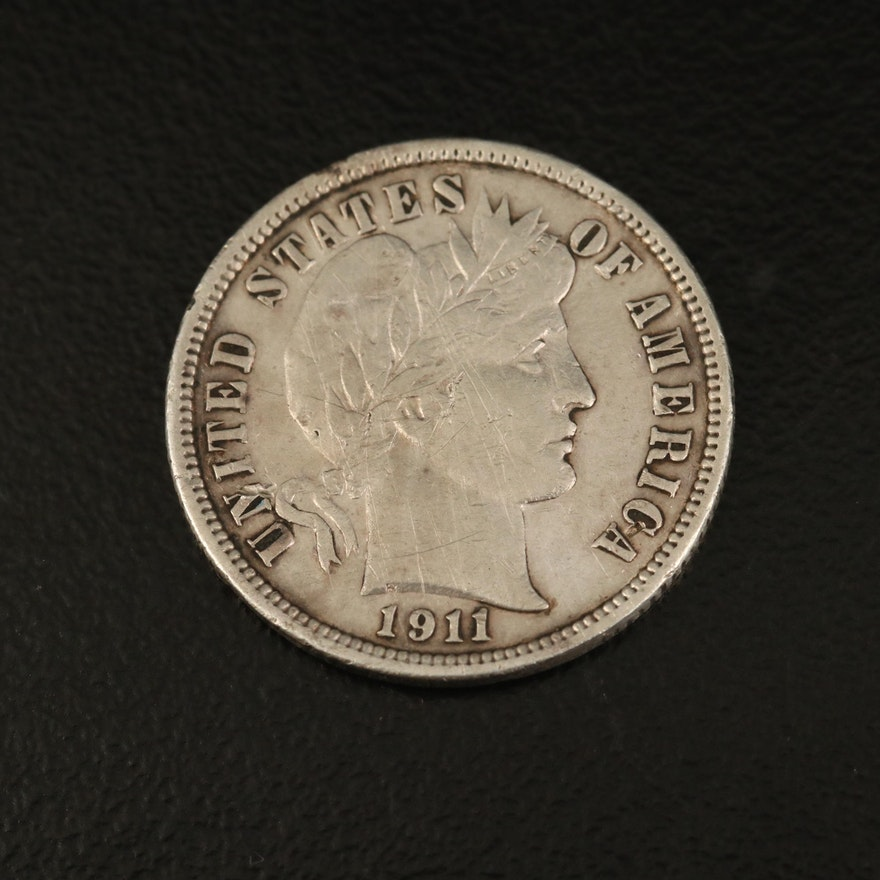 1911-D Barber Silver Dime