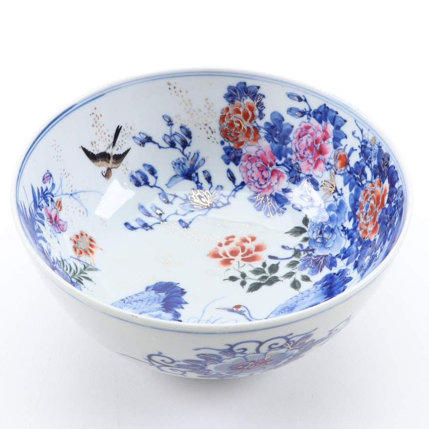 Japanese Hand-Painted Crane and Chrysanthemum Porcelain Bowl, 20th Century