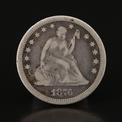 1876-CC Liberty Seated Silver Quarter