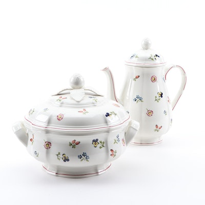 "Villeroy & Boch ""Petite Fleur"" Vitro Porcelain Coffee Pot and Covered Tureen"