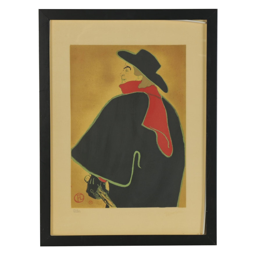 """Lithograph after Henri de Toulouse Lautrec """"Aristide Bruant,"""" Late 20th Century"""