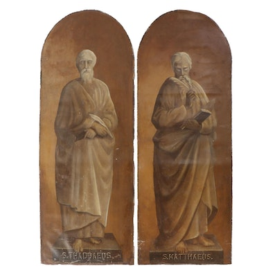 Large-Scale Oil Paintings of St. Jude and St. Matthew, Early 20th Century