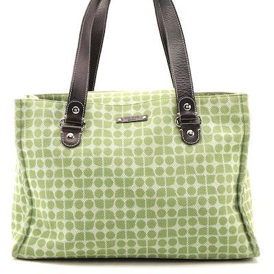 Kate Spade New York Green Logo Patterned Canvas and Leather Shoulder Bag