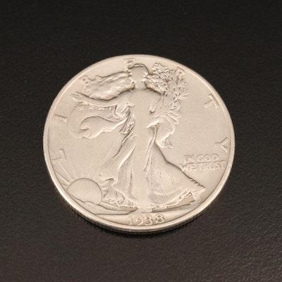Key Date Low Mintage 1938-D Walking Liberty Silver Half Dollar