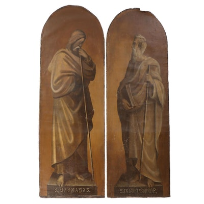 Large-Scale Oil Paintings of James the Less and St. Barnabas, Early 20th Century